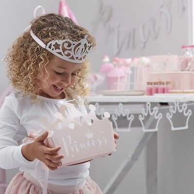 Pink princess crown party boxes, princess birthday favor boxes, pink and silver