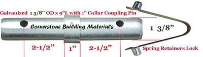 "12 Scaffold Coupling Pin 1-3/8""OD x 9""L with 1"" Collar & 12 Spring Retainer CBM"