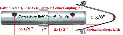 "Two Scaffold Coupling Pin 1-3/8""OD x 9""L with 1"" Collar & Two Spring Retainers"