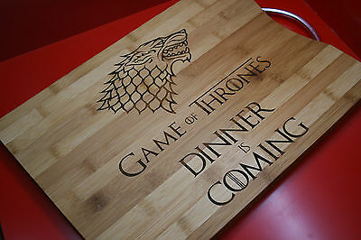 Engraved Game Of Thrones Bamboo Chopping Board Dinner Is Coming Starks Dire Wolf