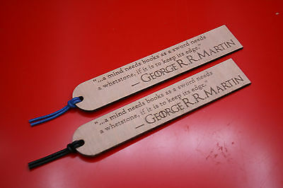 "Wooden Bookmarks Game Of Thrones George RR Martin Quote ""a mind needs books"""