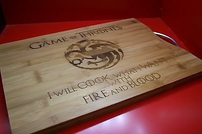 Engraved Game Of Thrones Bamboo Chopping Board Fire And Blood Dragons Targaryen