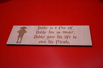 Wooden Bookmark Harry Potter Dobby Free Elf Has No Master