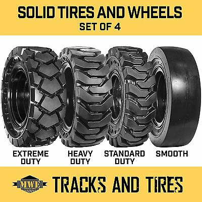 12-16.5 12x16.5 Flat-Proof Solid Rubber Skid Steer Tires - SD, HD, XD, or Smooth