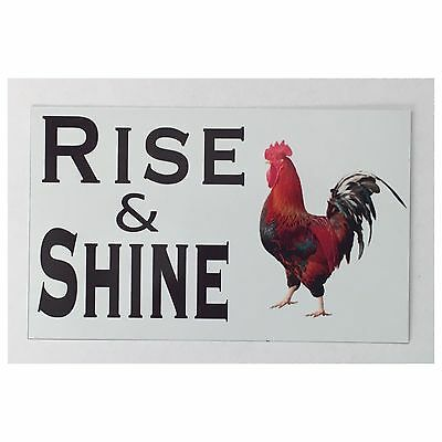 Rooster Rise & Shine Eggs Chic Sign Tin/Plastic Rustic Wall Plaque House Country