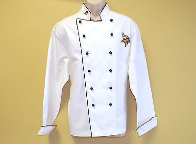 New Nfl Minnesota Vikings Premium Chef Coat 100% Cotton Xl Size Football Chief