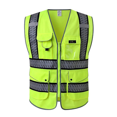 JKSafety 9 Pockets Class 2 High Visibility Zipper Front Safety Vest With Reflect