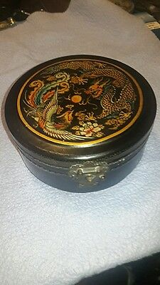 Vintage Oriental lacquer ware Round Jewellery Box with Mirror  dragon/phoenix