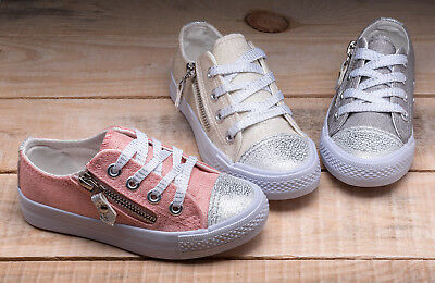 Girls glitter canvas trainers shoes