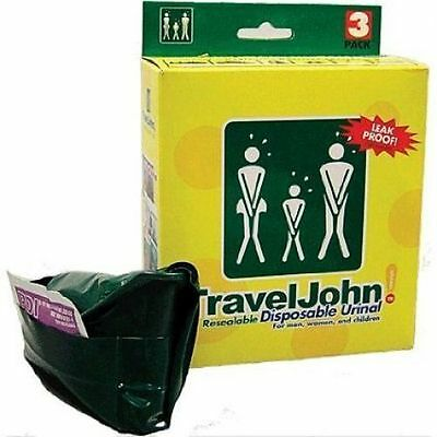 Travel John #66912 Campers/travelers Unisex 3 Pack Resealable Disposable Urinal