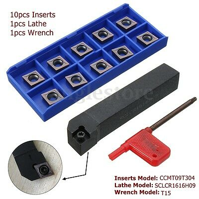10PCS CCMT09T304 Carbide Inserts + SCLCR1616H09 Holder Lathe Turning Tool Cutter