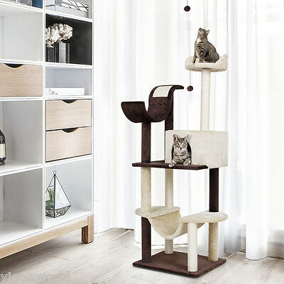 "60"" Cat Tree Tower Condo House Scratching Post Bed Pet Kitty Play House Gym Toy"