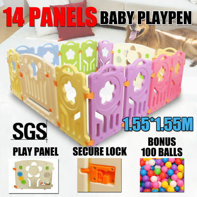 14 Panel Interactive Baby Playpen Kids Toddler Plastic Gate Safe Lock +100 Balls