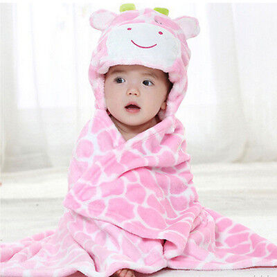 Cute Soft Animal Newborn Baby Kids Bath Hooded Towel Robe Bathrobe Coral Fleece