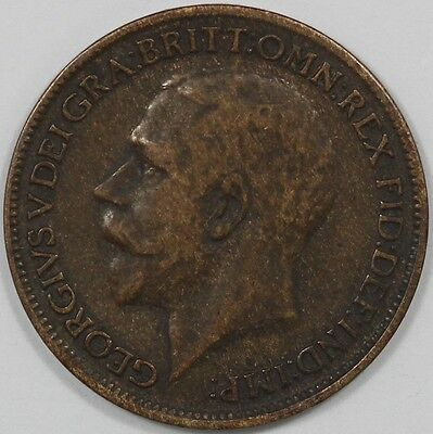 1917 George V Great Britain Farthing - EARLY DATE