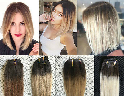 Ombre Real Human Hair Extensions Straight Full Head Clip in Remy