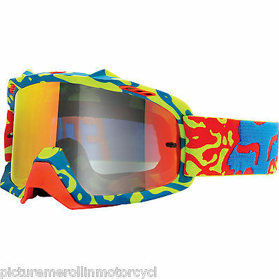 New Fox Air Space Cauz Spark Yellow Red Mirrored Lens Adult Goggles Mx Dirtbike