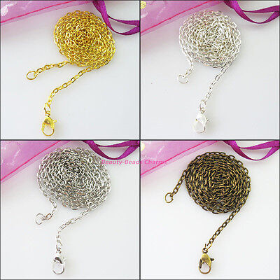 2Strands Flat Rings Necklaces Chains Cords W/Connector 50cm