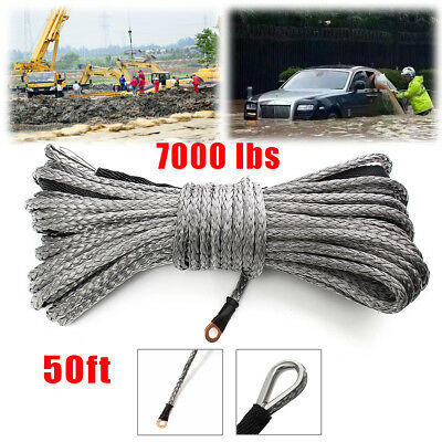 1/4'' x 50' 7000LBs Synthetic Gray Winch Line Cable Rope W/ Sheath ATV UTV Gray