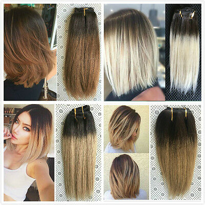 """10"""" Straight Short Full Head Clip in Human Hair Extensions Dip Dye Ombre Remy"""