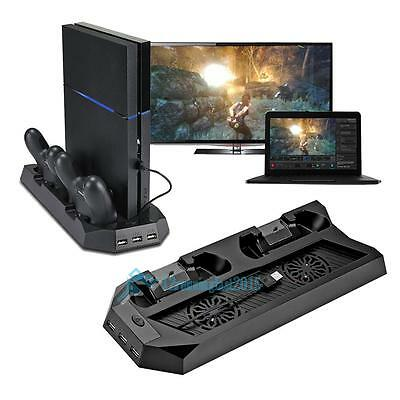 PS4 Vertical Stand Cooling Fan PlayStation 4 Console Cooler with Charging Dock