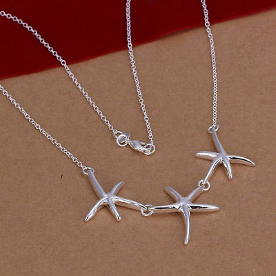 925 New lady noble Silver jewelry elegant women starfish fashion necklace N124