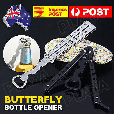 Butterfly Bottle Beer Opener Knife Training Practice Folding Tool Balisong Gift