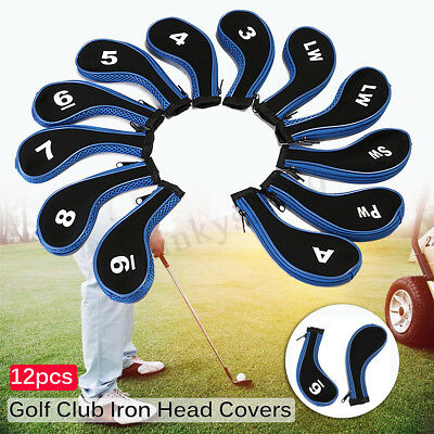 12PCS Golf Club Iron Head Covers Protect Headcover Black/Blue Zipper Long Neck