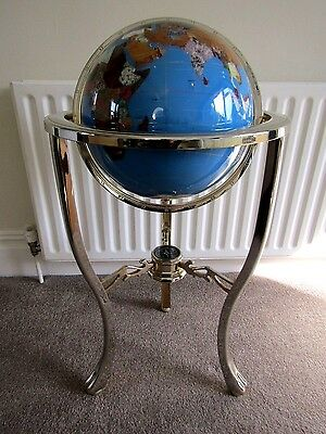 Large Gemstone Globe On Brass Stand With Compass-Height 3ft- Globe Diameter 12""