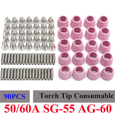 90x SG-55 AG-60 Plasma Cutter Torch Tips Electrode Consumable Nozzle For WSD-60