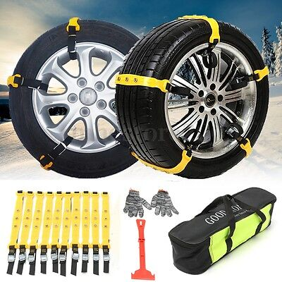 10x Anti-Skid Chains + 1 Pc Shovel + 2x Gloves Car Snow Mud Tires Safety Tool