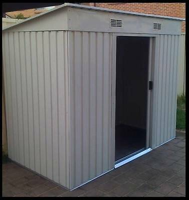 NEW STEEL OUTDOOR GARDEN STORAGE SHED - BEIGE COLOUR - 194 x 121 x 181cm