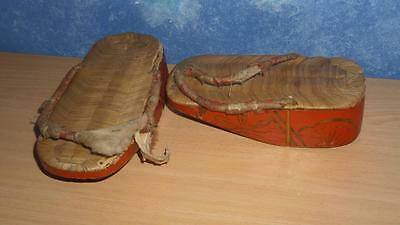 Antique Pair of Japanese TIMBER GETA SANDALS 19.5cm long Hand Crafted