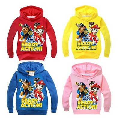 Boy Girl Paw Patrol Jumper Hooded Hoodie Jumper Jacket Size 2-8 years Cotton
