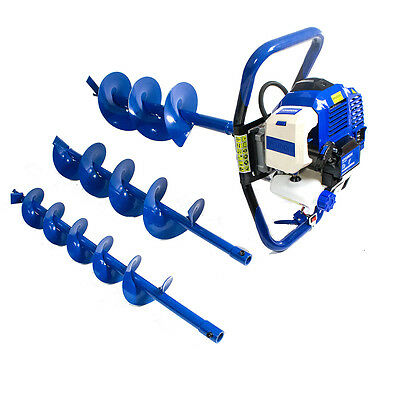 Earth Auger 51cc Petrol  Borer Drill Fence Post Hole Digger + 3 Drills
