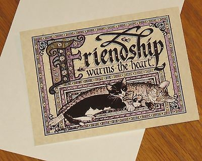 Friendship Warms the Heart vtg Sydney Hauser Art Cat Note Cards 8ct