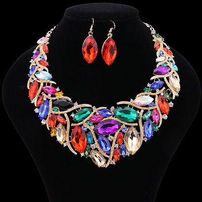 Austrian Crystal Party Jewelry Set Flower Gold Plated Statement Necklace Earring