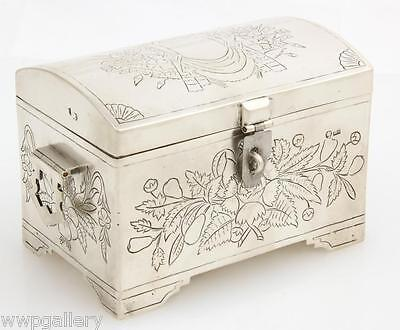 Antique Russian Silver Sugar Etrog Box Trunk Hand Engraved 1890