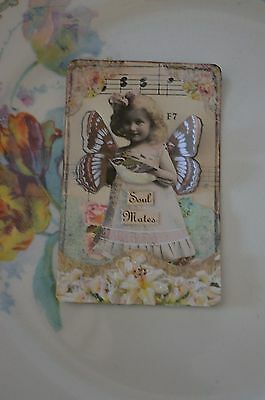 Soul Mates - An Altered Playing Card, Mixed Media, Fairy, Bird Art, Fantasy
