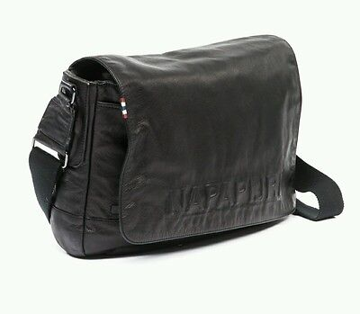 Borsa napapijri tracolla messenger cartella business bag pelle nera leather KAMO