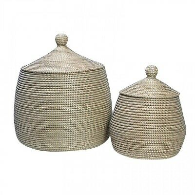 High Quality Set Of 2 Woven Laundry Basket / Baskets With Lid In Natural & Grey