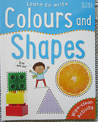 Learn to Write COLOURS and SHAPES Wipe Clean Activity Children's book   NEW