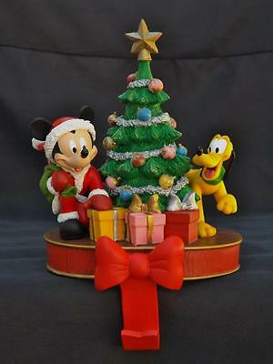 Disney Mickey & Pluto Christmas Tree Stocking Hanger Holder EXC
