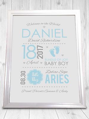 New Baby Announcement New Birth Record Personalised A4 Print - Boy or Girl