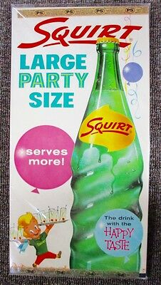 """1960 Squirt Soda """"party Size"""" Window Sign....nos & Mint!"""