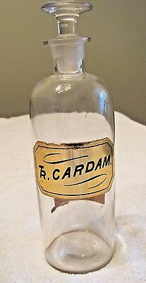 Antique/Vintage Apothecary Jar Ground Glass lid Held Tincture Of Cardamon