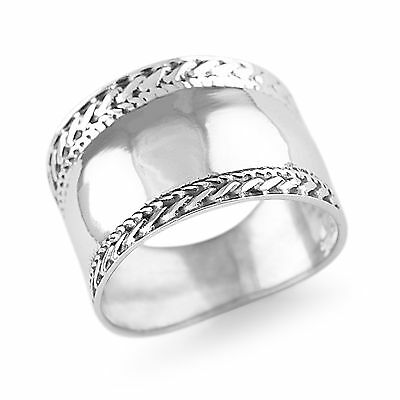 Womens Solid 925 Sterling Silver Vintage Style Plain Bali Design 14mm Ring