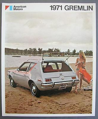 Rare American Motors 1971 Gremlin 2 & 4 Passenger Dealer Fold-Out Sales Brochure