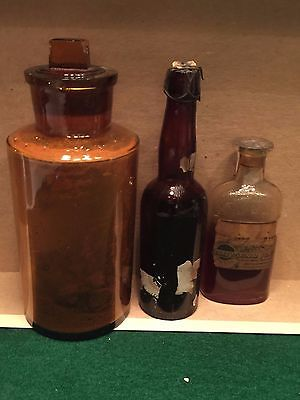 Lot of 3 Antique Medicine Brown Lug Bottle Pharmacy Apothecary