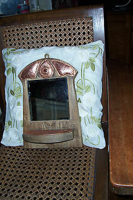 """Handmade arts & crafts style oak and copper mirror """" Luxor"""""""